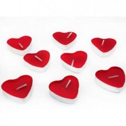 Kırmızı Kalp Tealıght Mum 50li