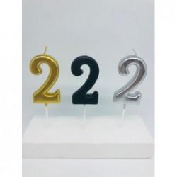7 Cm Metalik Rakam Mum - 2 -