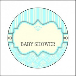 Sticker 12 Li Baby Shower Mavi