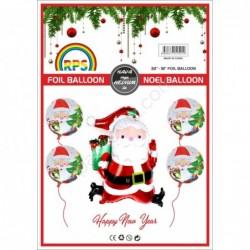 Folyo Balon Noel Baba 5 Li Set