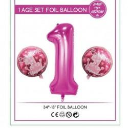 1 Yaş Pembe Folyo Balon Set...