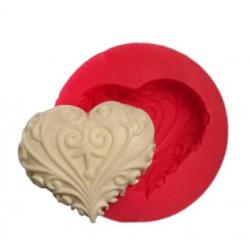 Sabun Kalıbı - Desenli Kalp